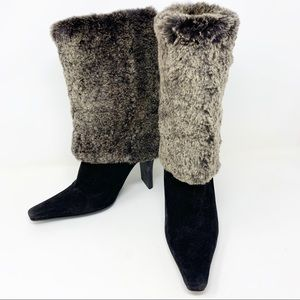 Authentic Chanel Suede Fur Sherpa lined Boots